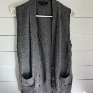 BCBG Max Azria Wool Button Front Sweater Vest